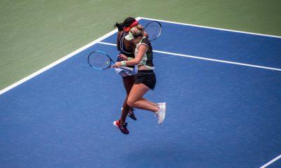 Coco Gauff et Caty McNally célèbrent leur victoire en double lors de l'US Open 2019