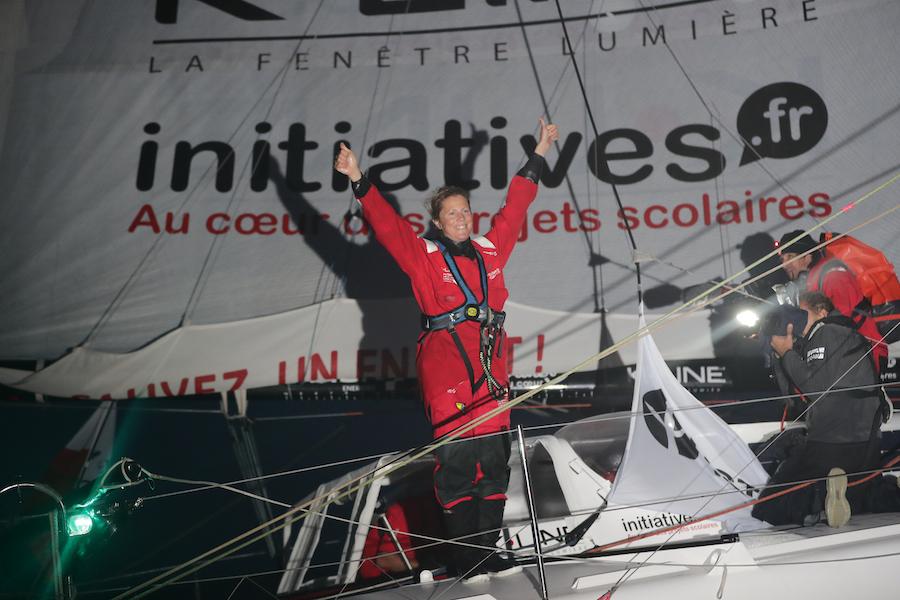 Samantha Davies à son arrivée aux Sables d'Olonne pour la course Vendée-Arctique 2020
